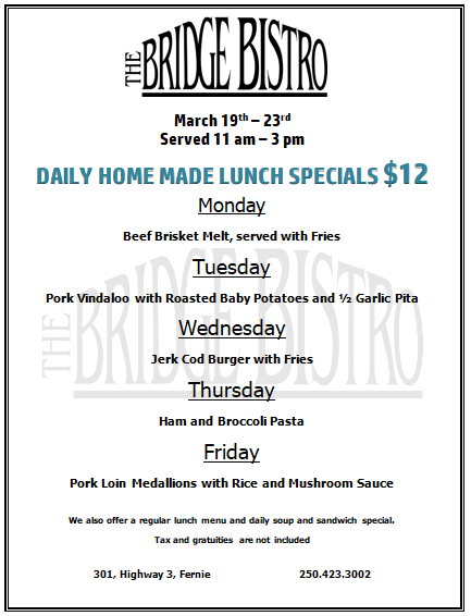 Lunch Special March Th Rd Events Coming Up Easter Brunch - Table 23 menu