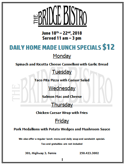 12 Lunch Specials June 18 22 2018 New Menu This Week
